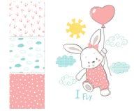 Den lilla kaninen flyger i en ballong yttersidamodell stock illustrationer