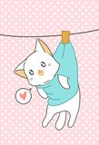 Den lilla katten hängdes i tecknad filmstil stock illustrationer