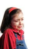 Den lilla ledsna flickan gråter Arkivbild
