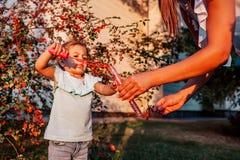 Den lilla litet barnflickan som spelar med såpbubblor i sommar, parkerar Lycklig unge som har roligt utomhus hjälpande moder för  royaltyfria foton