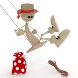 Den lilla mannen 3D på en gunga. royaltyfri illustrationer