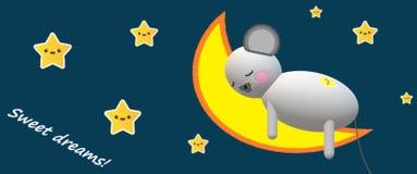 Den lilla musen på månen som sover för, behandla som ett barn stock illustrationer