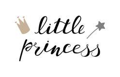 Den lilla prinsessan behandla som ett barn bokstävercitationstecknet, ungar planlägger stock illustrationer