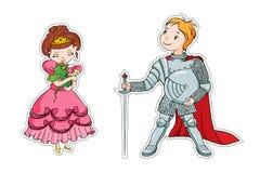 Den lilla prinsessan och den lilla riddaren Royaltyfri Foto