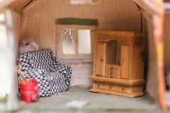 Den lilla roliga hamstern bak plats i ett litet föreställer hem Arkivfoto