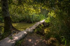 Den lilla roman spången Pont de Gras nära helgon-Lyphard på en solig dag i sommar royaltyfria bilder
