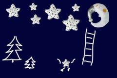 Den lilla stjärnan bestiger till gruppen av den near sova månen för stjärnor på marinblå bakgrund Royaltyfri Bild