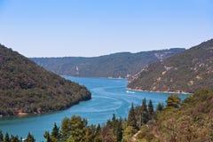 Den Lim fjärden i Kroatien royaltyfria foton