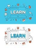 Den linjära lägenheten LÄR ord över boken och utbildning vektor illustrationer