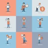 Den linjära plana affären lär krediteringsvinstvektorn Arkivfoton