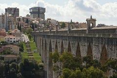 Den Lissabon akvedukten Arkivfoto