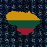 Den Litauen översiktsflaggan förhäxer på kodillustrationen royaltyfri illustrationer