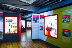 Den Liverpool FC berättelsen, museet av Liverpool FC i UK Fotografering för Bildbyråer