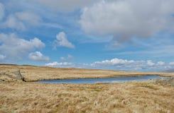 Den livliga blåa bergtarn pölen av a avverkar överst i sjöområdet Cumbria, UK arkivbilder