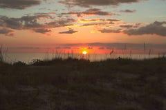 Den livliga solnedgången på gömma i handflatan ön Florida arkivbild