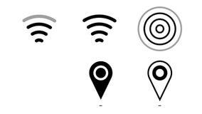 Den livliga symbolen wi-fi, gps-stift, radiosänder vågor vektor illustrationer