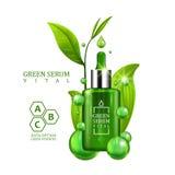 Den livsviktiga serumdroppglassflaskan dekorerade med gröna sidor på vit bakgrund Design för behandling för formel för vitamin fö royaltyfri illustrationer