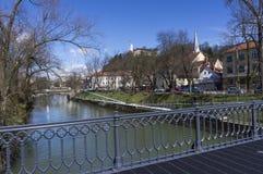 Den Ljubljanica floden Arkivfoton