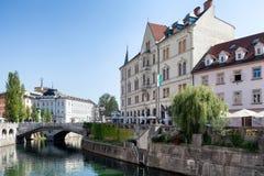 Den Ljubljanica floden Royaltyfri Fotografi