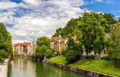 Den Ljubljanica floden i Ljubljana, Slovenien Fotografering för Bildbyråer
