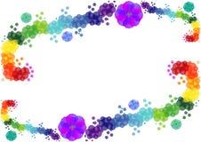 Den ljusa bakgrunden av färgrika cirklar och blommor Royaltyfri Bild