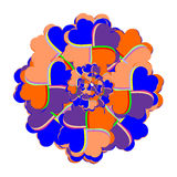 Den ljusa blommamedaljongen komponerade av hjärtor i en ka Royaltyfri Fotografi