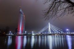 Den ljusa festivalen Staro Riga (som strålar Riga) som firar anniver Royaltyfri Fotografi