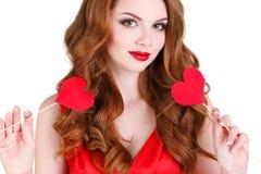 Den ljusa härliga kvinnan på St-valentin dag Royaltyfria Bilder
