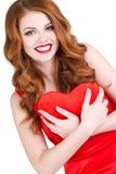 Den ljusa härliga kvinnan på St-valentin dag Royaltyfria Foton