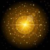 Den ljusa högkvalitativa guld- modellen med effekten av solljus, gör perfekt för det nya året och julen Planlade att ställa in et Arkivfoto