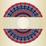 Den ljusa hand-teckningen snör åt dekorativt blom- abstrakt begrepp rundan med många detaljer på den mjuka guld- lutningen färgad royaltyfri illustrationer