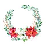 Den ljusa kransen med sidor, filialer, gran-trädet, bomull blommar, pinecones, julstjärna stock illustrationer