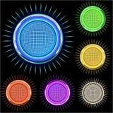den ljusa kromcirkeln colors den glansiga stjärnan Arkivbild