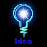 Den ljusa kulan föreställer Lightbulbidé och kreativitet Fotografering för Bildbyråer
