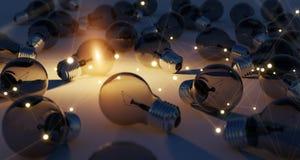 Den ljusa lightbulben och anslutningar som exponerar andra kulor 3D, ren Royaltyfri Fotografi