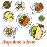 Den ljusa nationella disken av argentine kokkonst skissar royaltyfri illustrationer
