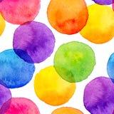 Den ljusa regnbågen färgar vattenfärgen målade cirklar Arkivfoto