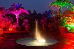Den ljusa showen i en natt parkerar i dåliga Pyrmont Arkivfoto