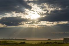 Den ljusa solen tänder ett lantligt landskap Fotografering för Bildbyråer