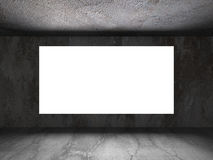 Den ljusa tomma baneraffischtavlan i mörka betongväggar hyr rum interio Royaltyfri Bild