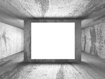 Den ljusa tomma baneraffischtavlan i mörka betongväggar hyr rum interio Fotografering för Bildbyråer