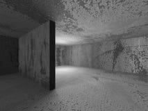 Den ljusa tomma baneraffischtavlan i mörka betongväggar hyr rum interio Arkivfoto
