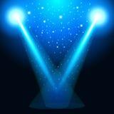 Den ljusa tryckningen från lampan, den ljusa källan, ljus, riktning av ljusa strålar Blåa linser, glänsande ljus för magisk ilske Arkivbild