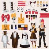 Den ljusa uppsättningen med subkultur av japanskt harajukugatamode, par i visuell kei utformar med tillbehör för cosplay och crea stock illustrationer