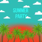 Den ljusa vektorillustrationen med kokosnöten gömma i handflatan, solnedgånghimmel, moln och ` för parti för text`-sommar, vektor illustrationer