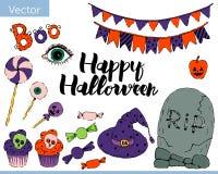 Den ljusa vektorn ställde in av beståndsdelar för halloween royaltyfri illustrationer