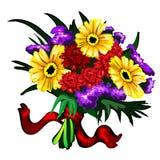 Den ljust buketten av guling, rött och lilor blommar Royaltyfri Fotografi