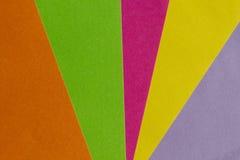 Den ljust guling, rosa färger, gräsplan, apelsinen och lilapapper texturerar backg Royaltyfri Fotografi