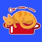Den ljust rödbrun katten sover på en röd kastrull Vektorklistermärke med ett roligt djur Illustration med att drömma om smaklig m royaltyfri illustrationer