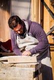 Den lokala hantverkaren visar den stenhuggareexpertisVenedig karnevalet Fotografering för Bildbyråer